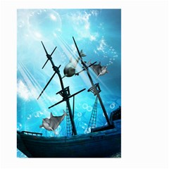 Awesome Ship Wreck With Dolphin And Light Effects Large Garden Flag (two Sides) by FantasyWorld7