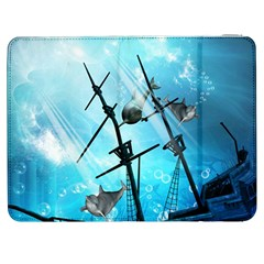 Awesome Ship Wreck With Dolphin And Light Effects Samsung Galaxy Tab 7  P1000 Flip Case by FantasyWorld7