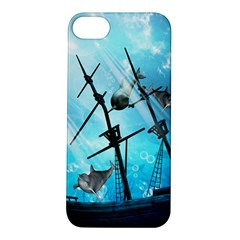 Awesome Ship Wreck With Dolphin And Light Effects Apple Iphone 5s Hardshell Case by FantasyWorld7