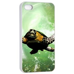Wonderful Sea Turtle With Bubbles Apple Iphone 4/4s Seamless Case (white) by FantasyWorld7