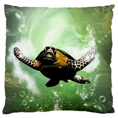 Wonderful Sea Turtle With Bubbles Large Cushion Cases (two Sides)  by FantasyWorld7