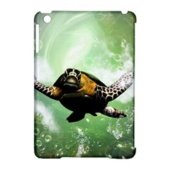 Wonderful Sea Turtle With Bubbles Apple Ipad Mini Hardshell Case (compatible With Smart Cover) by FantasyWorld7