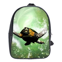 Wonderful Sea Turtle With Bubbles School Bags (xl)  by FantasyWorld7