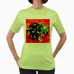 Black Skulls On Red Background With Sword Women s Green T Shirt by FantasyWorld7