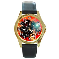 Black Skulls On Red Background With Sword Round Gold Metal Watches by FantasyWorld7
