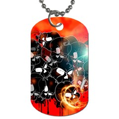 Black Skulls On Red Background With Sword Dog Tag (two Sides) by FantasyWorld7
