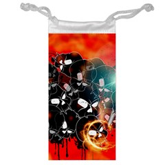 Black Skulls On Red Background With Sword Jewelry Bags by FantasyWorld7