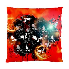 Black Skulls On Red Background With Sword Standard Cushion Case (one Side)  by FantasyWorld7