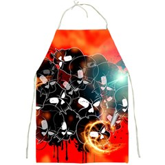 Black Skulls On Red Background With Sword Full Print Aprons by FantasyWorld7