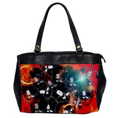 Black Skulls On Red Background With Sword Office Handbags by FantasyWorld7