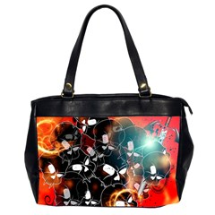Black Skulls On Red Background With Sword Office Handbags (2 Sides)  by FantasyWorld7