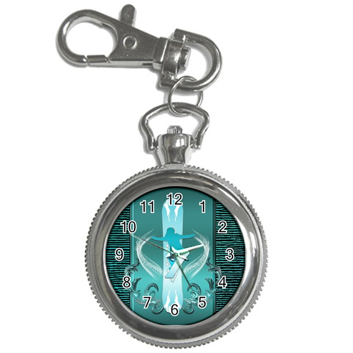 Snowboarder With Snowboard Key Chain Watches