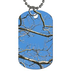 Leafless Tree Branches Against Blue Sky Dog Tag (one Side) by dflcprints