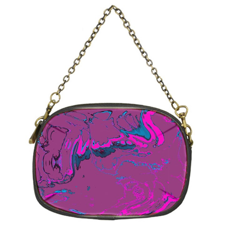 Unique Marbled 2 Hot Pink Chain Purses (One Side)