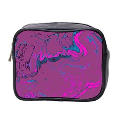 Unique Marbled 2 Hot Pink Mini Toiletries Bag 2 Side by MoreColorsinLife