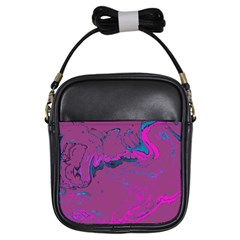 Unique Marbled 2 Hot Pink Girls Sling Bags by MoreColorsinLife