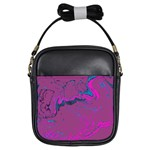 Unique Marbled 2 Hot Pink Girls Sling Bags Front