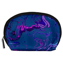 Unique Marbled 2 Blue Accessory Pouches (large)  by MoreColorsinLife