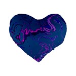 Unique Marbled 2 Blue Standard 16  Premium Flano Heart Shape Cushions Front