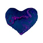 Unique Marbled 2 Blue Standard 16  Premium Flano Heart Shape Cushions Back