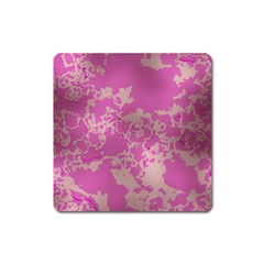 Unique Marbled Pink Square Magnet by MoreColorsinLife