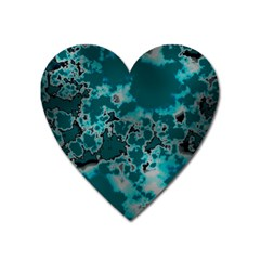 Unique Marbled Teal Heart Magnet by MoreColorsinLife