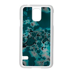 Unique Marbled Teal Samsung Galaxy S5 Case (white) by MoreColorsinLife