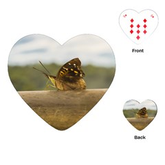 Butterfly Against Blur Background At Iguazu Park Playing Cards (heart)  by dflcprints