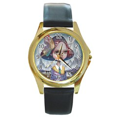 World Peace Round Gold Metal Watches by YOSUKE