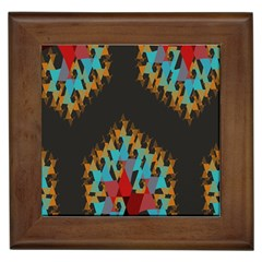 Blue, Gold, And Red Pattern Framed Tiles by digitaldivadesigns