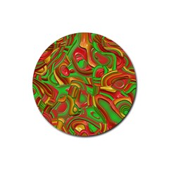 Art Deco Red Green Rubber Round Coaster (4 Pack)  by MoreColorsinLife