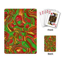 Art Deco Red Green Playing Card by MoreColorsinLife
