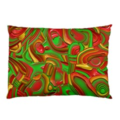 Art Deco Red Green Pillow Cases by MoreColorsinLife
