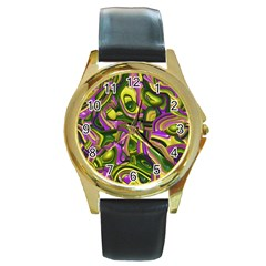 Art Deco Yellow Green Round Gold Metal Watches