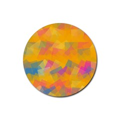 Fading Squares Rubber Round Coaster (4 Pack) by LalyLauraFLM