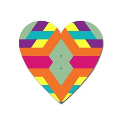 Colorful Rhombus And Stripes Magnet (heart) by LalyLauraFLM