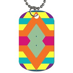 Colorful Rhombus And Stripes Dog Tag (one Side) by LalyLauraFLM