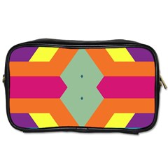 Colorful Rhombus And Stripes Toiletries Bag (two Sides) by LalyLauraFLM