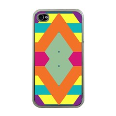 Colorful Rhombus And Stripes Apple Iphone 4 Case (clear) by LalyLauraFLM