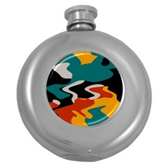 Misc Shapes In Retro Colors Hip Flask (5 Oz)