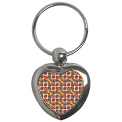 Squares And Other Shapes Pattern Key Chain (heart) by LalyLauraFLM