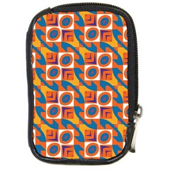 Squares And Other Shapes Pattern Compact Camera Leather Case by LalyLauraFLM