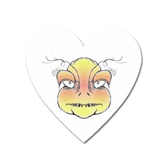 Angry Monster Portrait Drawing Heart Magnet by dflcprints