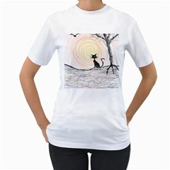 Black Cat On Halloween In Creepy Forest  Women s T Shirt (white) (two Sided) by tiastees