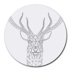 Modern Geometric Christmas Deer Illustration Round Mousepads by Dushan