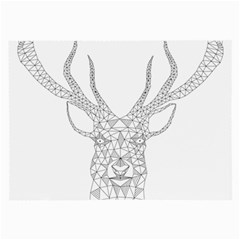 Modern Geometric Christmas Deer Illustration Large Glasses Cloth (2 Side) by Dushan
