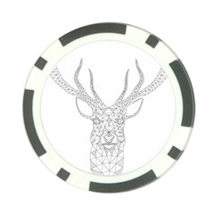Modern Geometric Christmas Deer Illustration Poker Chip Card Guards by Dushan