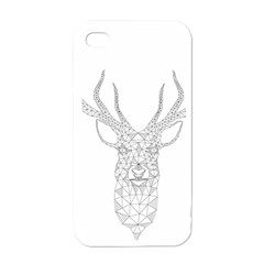Modern Geometric Christmas Deer Illustration Apple Iphone 4 Case (white) by Dushan