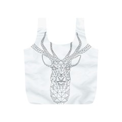 Modern Geometric Christmas Deer Illustration Full Print Recycle Bags (s)  by Dushan