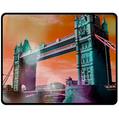 London Tower Bridge, Bokeh Orange Fleece Blanket (medium)  by MoreColorsinLife